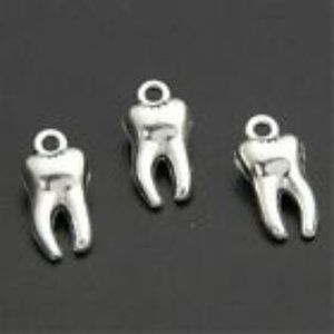 Set of 7 Silver Teeth Charms